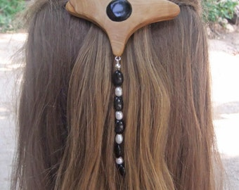 Fashion Week  Hair Barrette, hand made from olive wood,  with Onyx gemstones and freshwater
