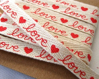Red Love Hearts Printed Cotton Ribbon Valentine Twill Tape 3/8 inch - 2 yards