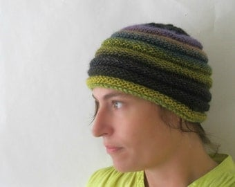 Beehive Beanie - Inspired by The Secret Life of Bees : Green Purple Ombre Handknit Hat