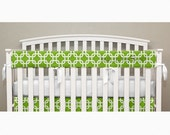 Teething Crib Rail Cover Protector - Lime Green Square - T1a