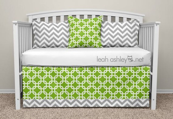 Lime Green And Gray Bedding: Crib Bedding Set Reed5a Lime Green Gray By Leahashleyokc