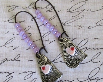 Industrial Pink and Silver Cat with heart  Dangle Earrings, Kitty Cat Chandelier Earrings, Gift For Mom, Steampunk