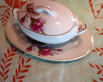 Vintage Sugar Bowl and Plate