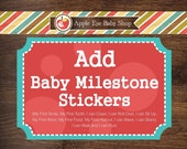 ADD 12 Baby MILESTONE Stickers My First Smile, My First Tooth and more. Baby Bodysuit Sticker Props Boy or Girl Baby Shower Gift Stickers