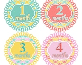 Baby Monthly Stickers FREE Baby Month Milestone Sticker Baby Month Stickers Baby Girl Bodysuit Stickers Vintage Shabby Chic Damask 006G
