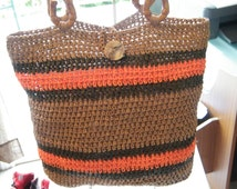 Handbag made from Raffia Yarn. handmade crochet Wheat , chocolate and orange colors, ready to ship now.