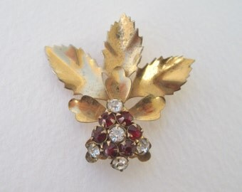 SALE 60 PERCENT Off Vintage Gold Tone Ruby Red Rhinestone Flower Leaf Convertible Brooch Pin and Pendant with WEAR