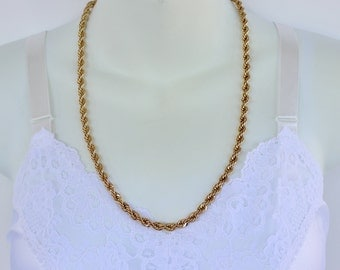 SALE 20 PERCENT OFF Vintage 1985 Signed Avon French Rope Twist Goldtone Polished Glossy Braid Gold Tone Chain Necklace
