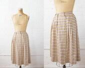 1950s Skirt - 50s Skirt - Striped Pleated Cotton Circle Skirt