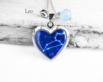 "Get 15% OFF - Double Sided - Handmade Resin ""Leo"" Constellation Sign Silver Heart-shape Locket Necklace - Valentine's Day SALE 2017"