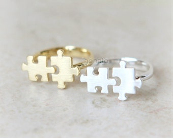 Jigsaw Puzzle Ring / choose your color,gold and silver, Adjustable ring