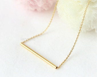 Thin Tube Necklace / choose your color, gold and silver