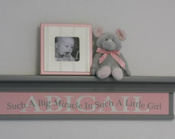 Personalized Baby Gift | Wood Sign - Such A Big Miracle In Such A Little Girl | Name Shelf | Newborn Girl Gift | Little Girl Room Decor
