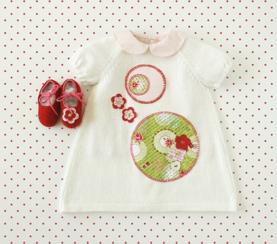 knitted dress, shoes, for a baby girl with flowers and circles. 100% cotton. READY TO SHIP in size 1/3 months