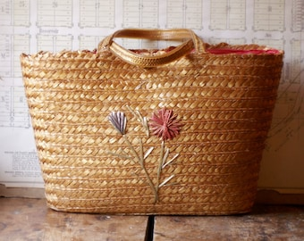 Vintage Straw Tote Bag Purse with Raffia Flowers and Waterproof Lining