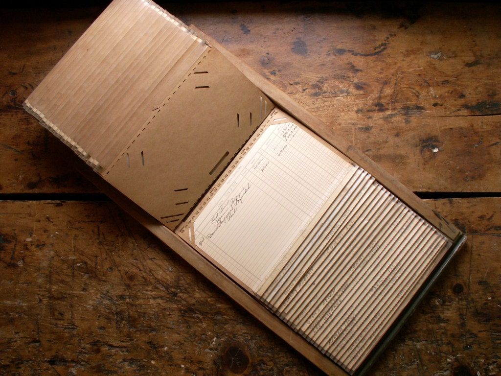 Ledger Card Holder : Vintage office flip card filing system unique by copperandtin