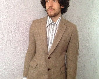 Vintage  Men's Tweed Herringbone Jacket  Blazer medum