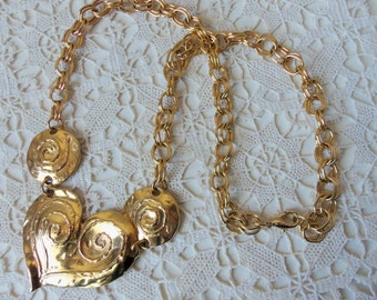 Vintage Necklace - Heart Motif - Double Link Chain - Vintage Glamour - Statement Necklace - Romantic - Collectible