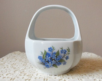 China Basket - Royal Schwabap, Made in Enter-Holland, Blue Forget-Me-Nots, White China Basket with Handle, Hand Decorated, Home Decor