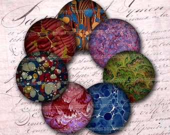 Marbled Paper Circles Collage Sheet Antique Book Lovers Page 2.5 Inch Circles for DIY Compacts Magnets Buttons End Paper Download 551
