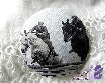 Fabric button,  retro horses