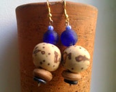 FE African recycled blue glass raffia palm nut  natural earrings