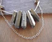 Raw Quartz Crystal Necklace, Silver Crystal Necklace, Sterling Silver Bar Necklace, Crystal Bib Necklace, Natural Crystal Necklace