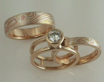 14k Red Gold, 18k yellow Gold and Sterling Mokume Gane Band with ring Guard full bezel