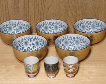 8 Piece Asian Sushi SERVING Set  ~ 5 Tempura Sauce Dipping BOWLS & 3 Saki Cups ~ Shot Glasses