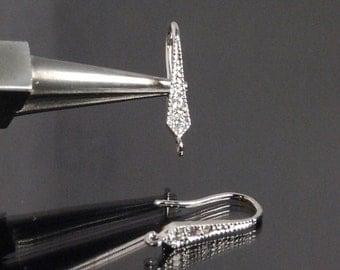 1 pair, 2 pcs: Sterling silver ear wires with cubic zirconia, 16X8X3mm, rhodium plated, tarnish resistant
