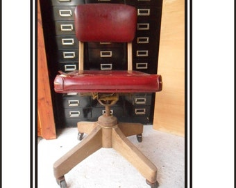 Antique Wooden Office Chair Oxblood