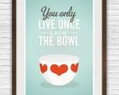 Vintage bowl art print, funny kitchen print, retro kitchen, lick the bowl, retro art, Finel, Quote print A3