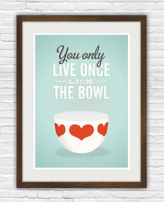Vintage Bowl Art Print Funny Kitchen Print Retro Kitchen