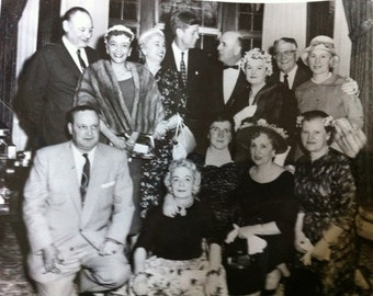 Vintage Photograph 60s Vintage JFK KENNEDY 8 x 10 Glossy Photo with 13 People at a Party Kennedy?