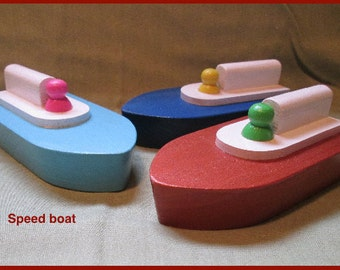 Wooden toy boat,  speed boat