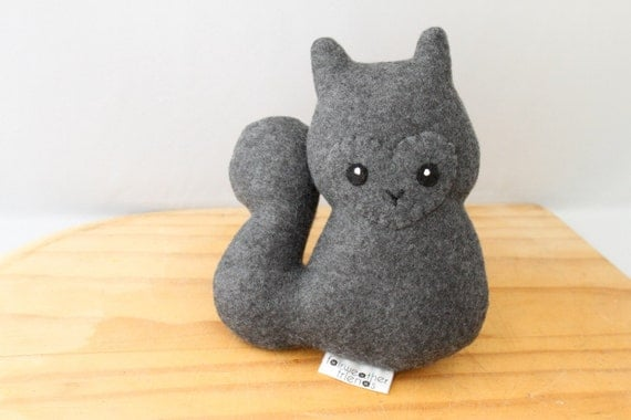 Squirrel Plushie. Stuffed Animal, Plush Toy, Squirrel Softie, Cute Plush, Gray Squirrel Doll, Small Fleece Plush, Fabric doll, Artist Plush