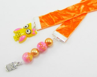 Owl Ribbon Bookmark Orange Crush Velvet Ribbon Bookmark Orange Yellow Pink