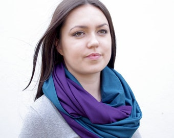 Huge infinity scarf, shrug, shawl, cowl and hood in one piece, darl teal and dark purple colors - READY to ship