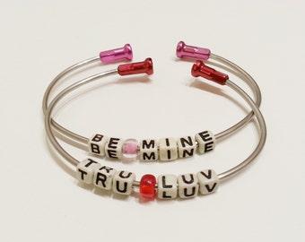 Love Valentines Bicycle Spoke Bangle Bracelet - Listing is for ONE Customized bracelet - SPOKE03