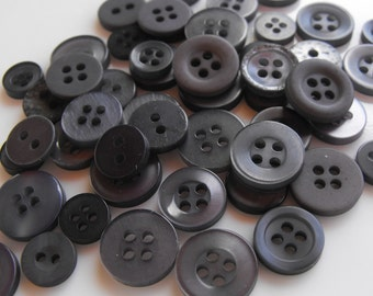 Ash Gray Buttons, 50 Small Assorted Round Sewing Crafting Bulk Buttons