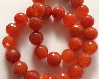 Carnelian Faceted Rounds-14mm