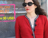 70% OFF! Red Spring Jacket, Handmade: Jackie, Summer Collection