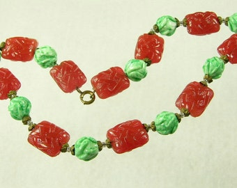 Molded Czech Glass and Ceramic Bead Art Deco Choker (No. 677)