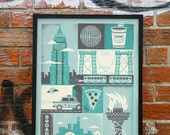 "New York Inspired Silkscreen Art Print -  Midnight Color Variation 18"" x 24"""