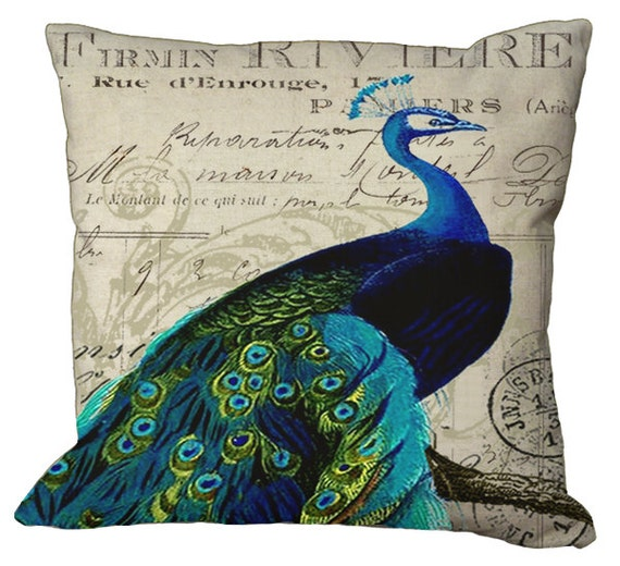 Peacock on invoice in Right or Left facing for a perfect pair in Choice of 14x14 16x16 18x18 20x20 22x22 24x24 26x26 inch Pillow Cover
