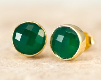 Green Onyx Stud Earrings - Gemstone Studs - Round Studs - Gold Stud Earrings - Post Earrings
