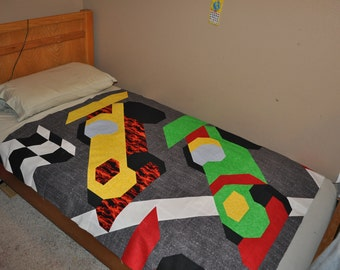 Race Car Quilt Pattern with multiple sizes Wall, Crib, and Lap (border for twin) - PDF format