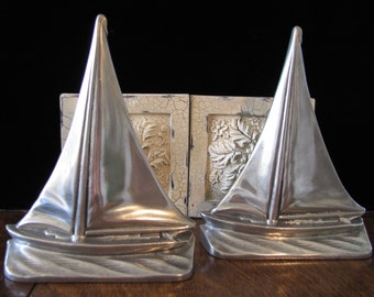 Vintage Chrome Sailboat Book Ends