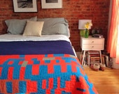 Twin size quilt: Emperor quilt   improv modern quilt red blue handmade homemade handsewn hand quilted  cotton quilt Brooklyn