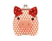Little ochre orange piggy clutch purse